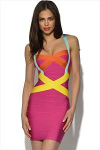 Ultra Flattering Colour Pop Bandage Dress