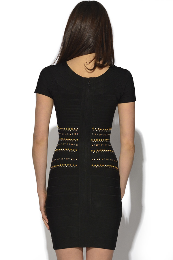 Short Sleeved Studded Waist Bandage Dress
