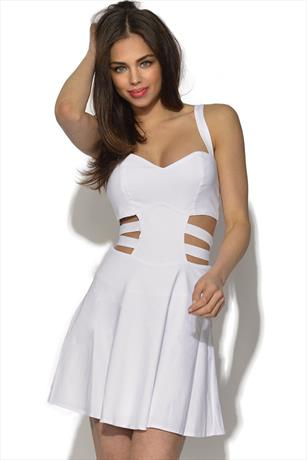RARE Cage Cut Out Side Skater Dress