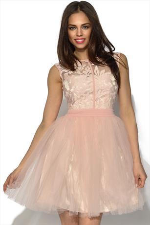 Little Mistress Pink Floral Lace Prom Dress