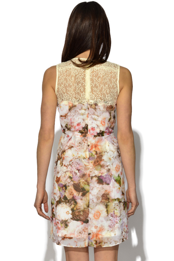 Floral Print Lace Back Dress