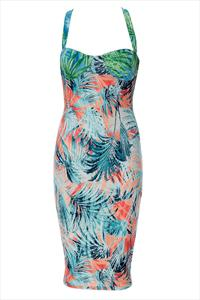 Exotic Print Strappy Back Bodycon Dress