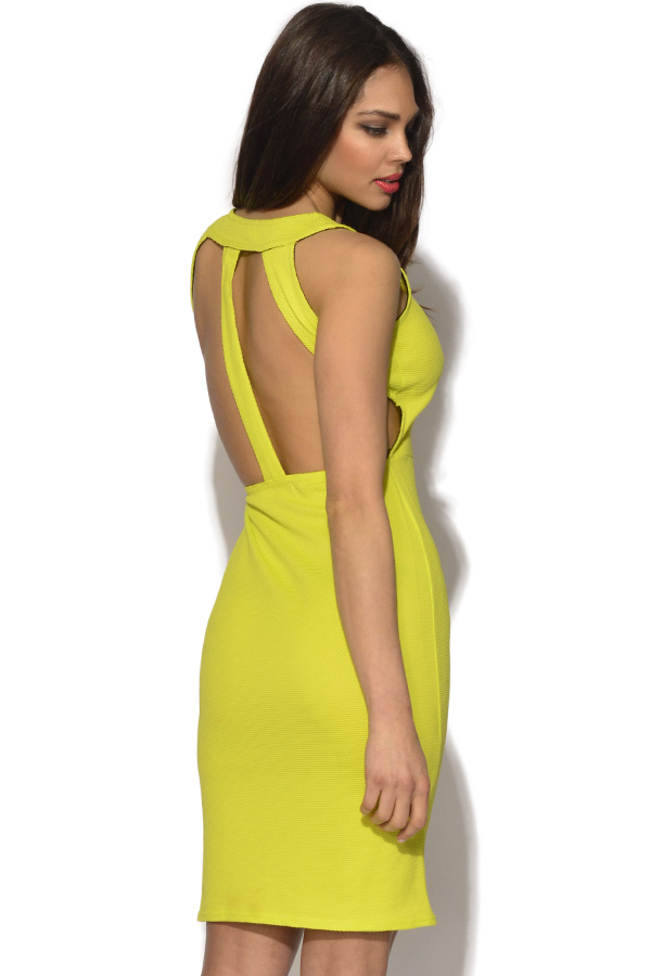Waffle Cut Out Bodycon Dress