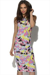 Celebrity Splash Print Bodycon Dress