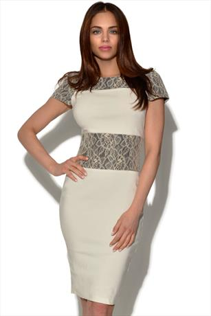 Paper Dolls Cream Lace Panel Dress