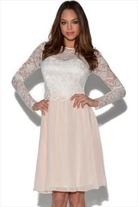 Little Mistress Lace Detail Long Sleeved Dress