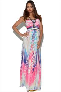 Little Mistress Embellished Print Maxi Dress