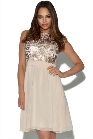 Little Mistress Nude Embellished Skater Dress