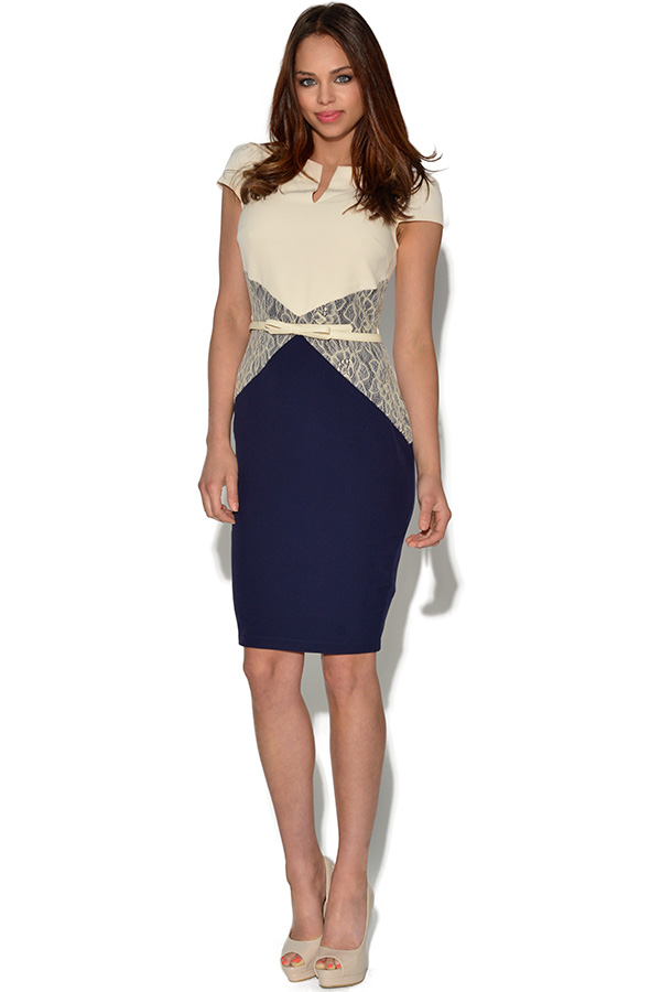 Paper Dolls Navy and Cream Bodycon Dress