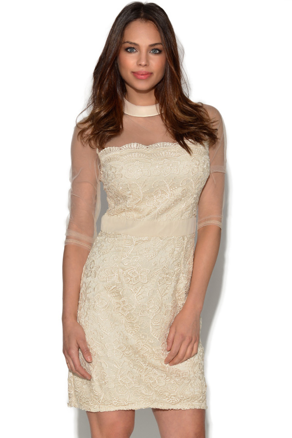 Little Mistress Lace Overlay Mesh Shift Dress