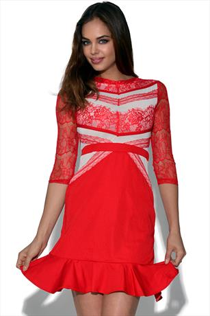 Celebrity Frilled Hem Lace Dress