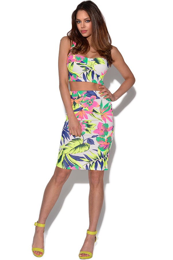 Neon Floral Bralet and Pencil Skirt Set