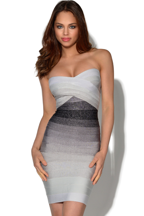 Grey Gradient Bandeau Bandage Dress