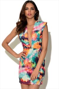 RARE Multi Splatter Printed Plunge Dress
