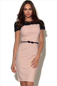 Paper Dolls Blush Pink Lace Shoulder Dress