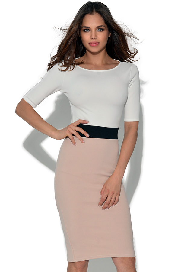 Short Sleeve Two Tone Bodycon Dress
