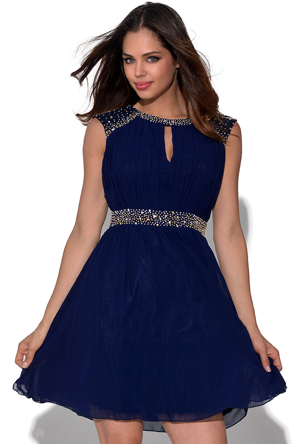 Little Mistress Embellished Fit And Flare Dress