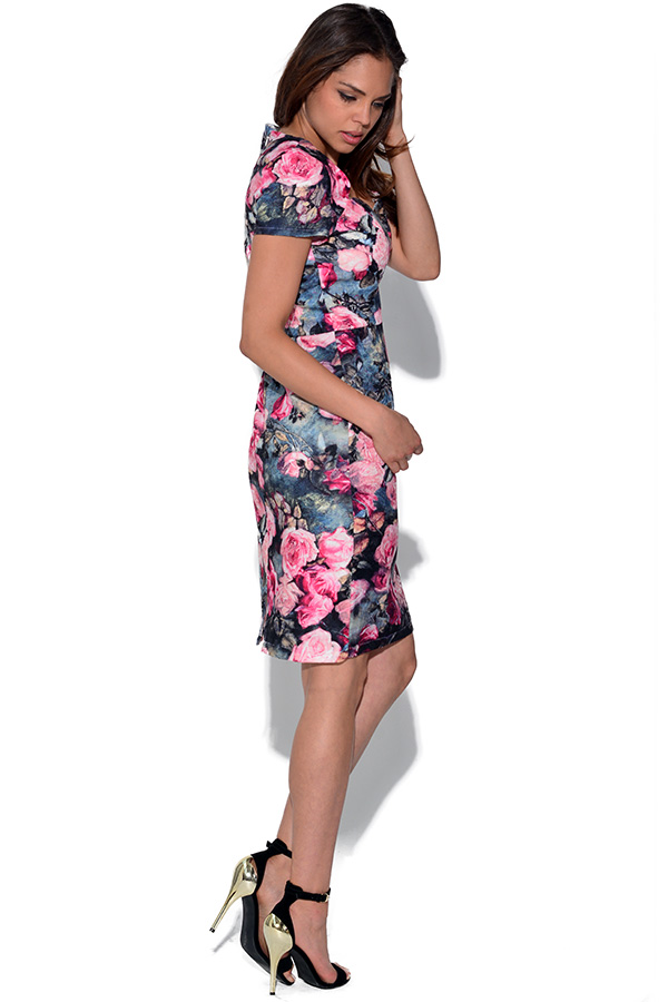Paper Dolls Rose Print Wiggle Dress