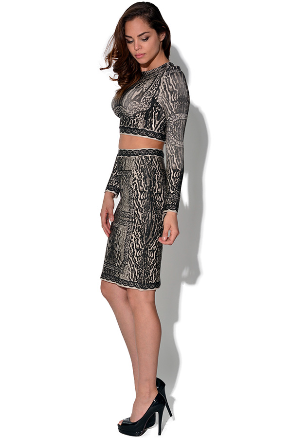 Luxe Leopard Print 2 Piece Skirt and Crop Top