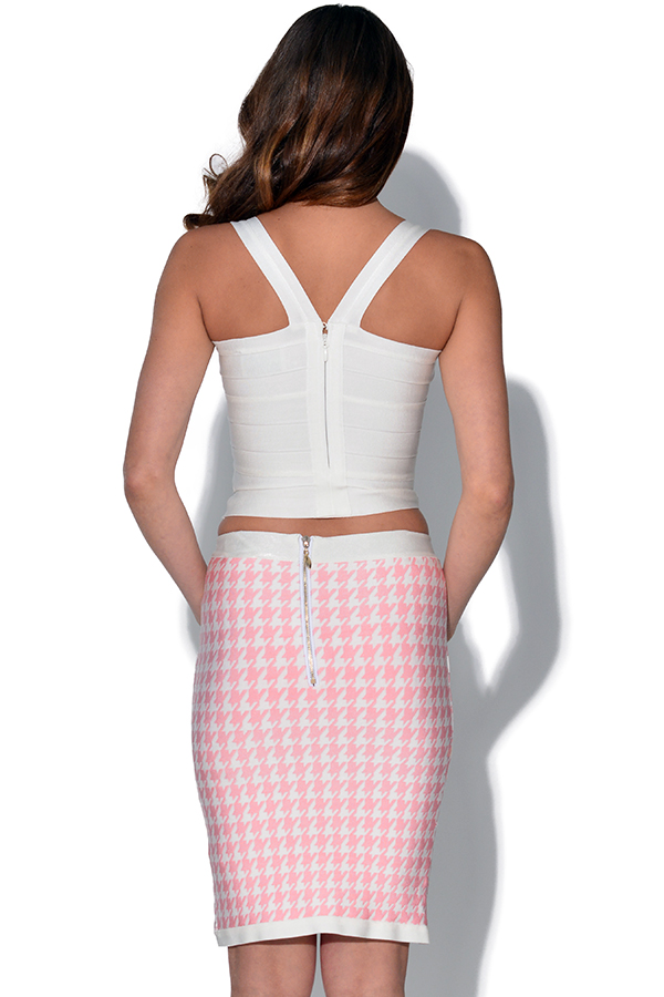 Luxe Pink and Cream Houndstooth Print Skirt