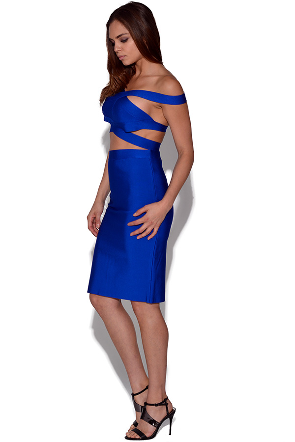 Luxe Electric Blue Strappy Skirt and Crop Top