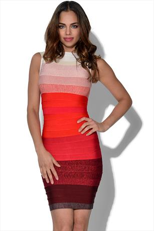 Luxe Red Ombre Bandage Dress