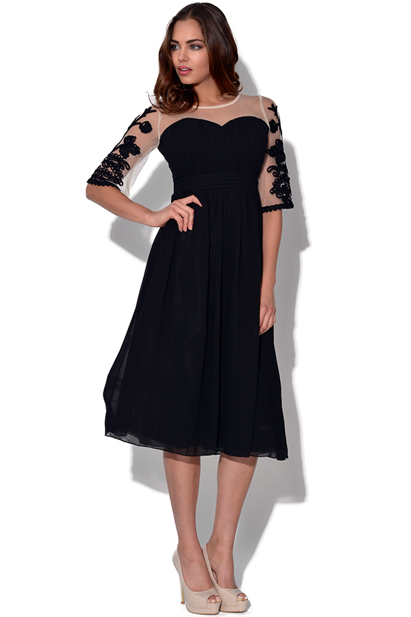 Little Mistress Embroidered Fit And Flare Dress