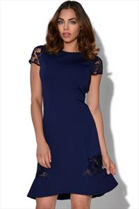 Little Mistress Navy Lace Sleeve Trim Dress