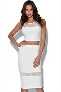 Ginger Fizz White Mesh Stripe Skirt