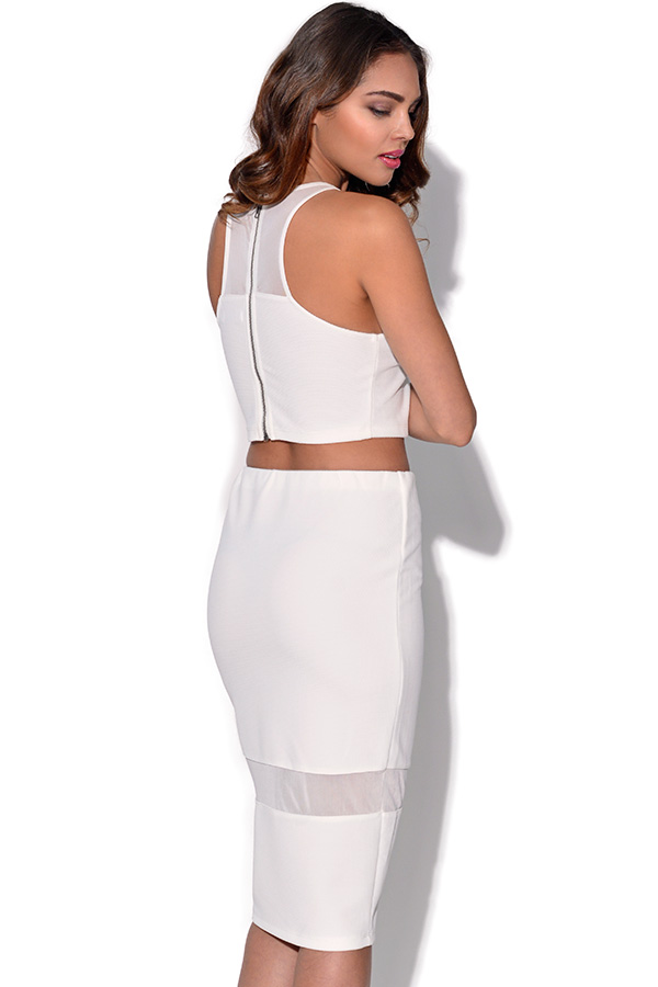 Ginger Fizz White Mesh Back Top