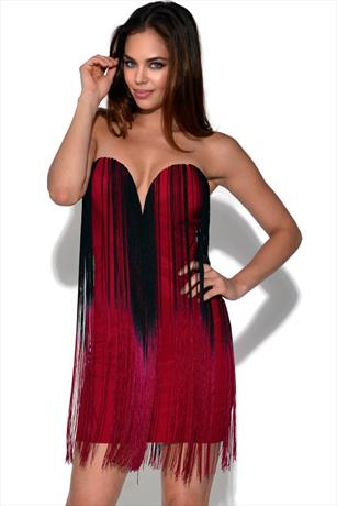 RARE Ombre Fringe Bandeau Dress