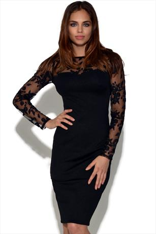Long Sleeve Floral Mesh Bodycon Dress