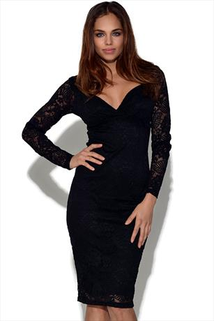 Lace Sweetheart Neck Fitted Dress