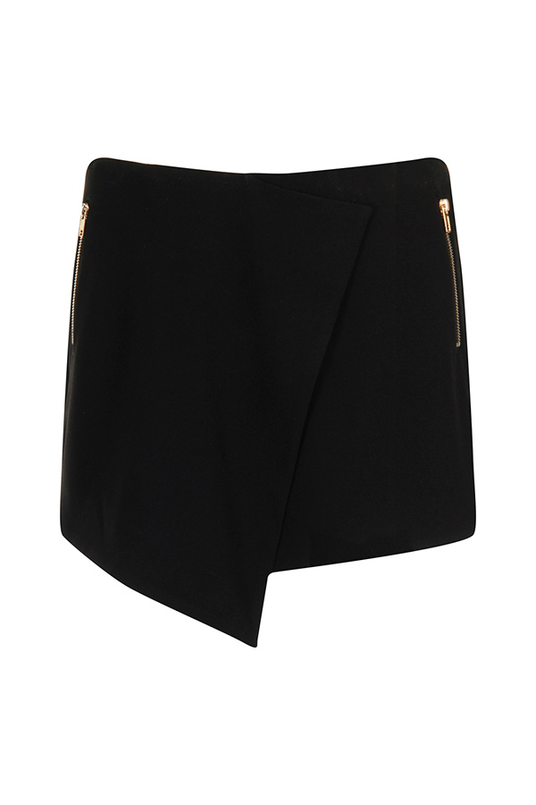 Girls on Film Black Cross-Over Skirt