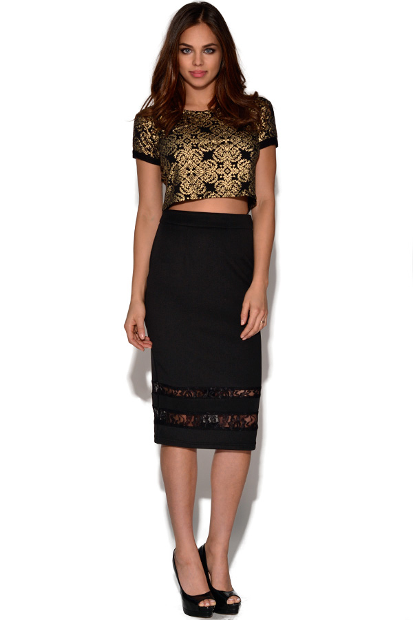 Girls On Film Lace Pencil Skirt