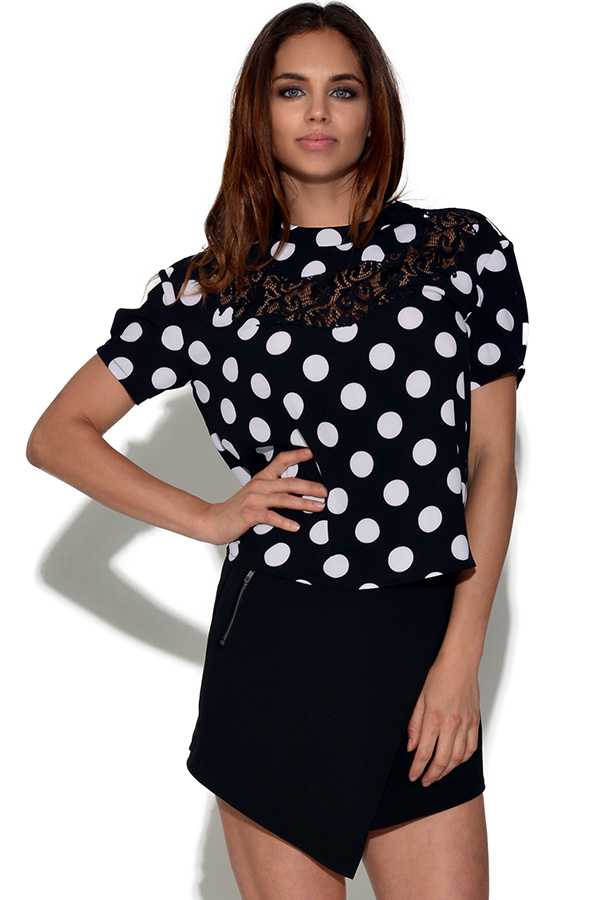 Girls On Film Monochrome Polka Dot Top