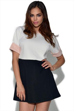 Girls On Film Tri Tone Shift Dress
