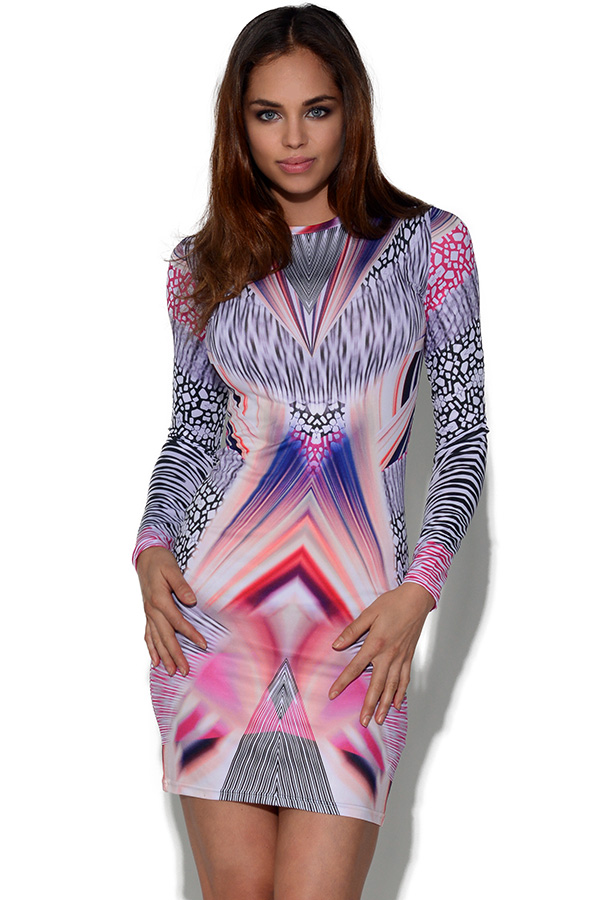 Girls On Film Long Sleeve Graphic Print Dress