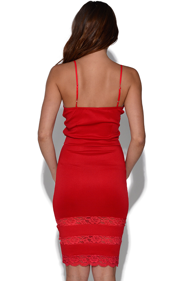 Lace Detail Cut Out Strappy Bodycon Dress