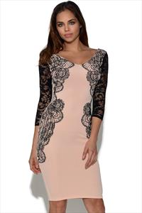 Floral Detail Lace Sleeve Bodycon Dress