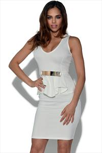 Belted Peplum Dress
