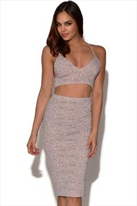Snakeskin Crop Top and Skirt Set