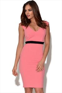 Crepe V Neck Dress