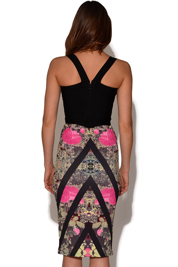 Girls On Film Chevron Print Pencil Skirt