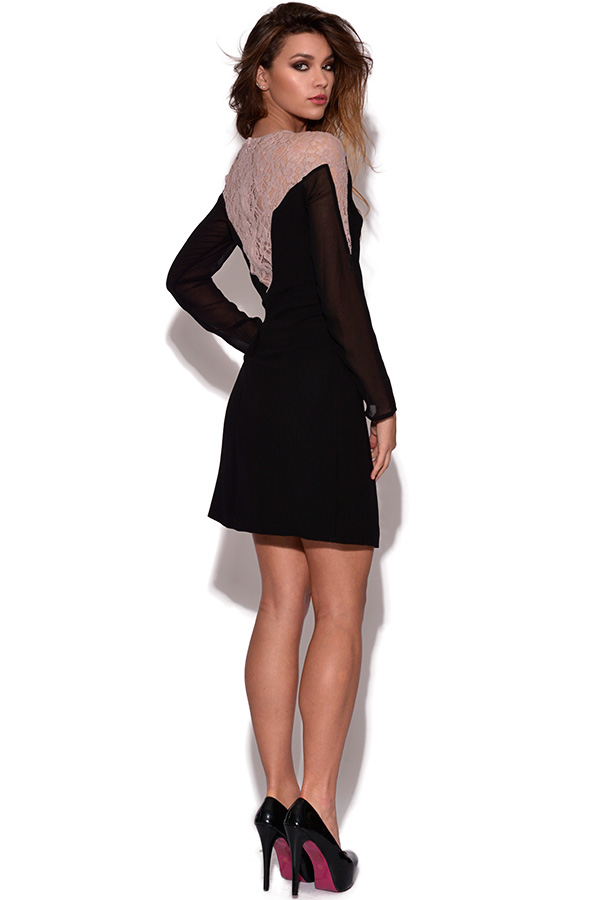 Little Mistress Lace Shoulder Tunic Dress