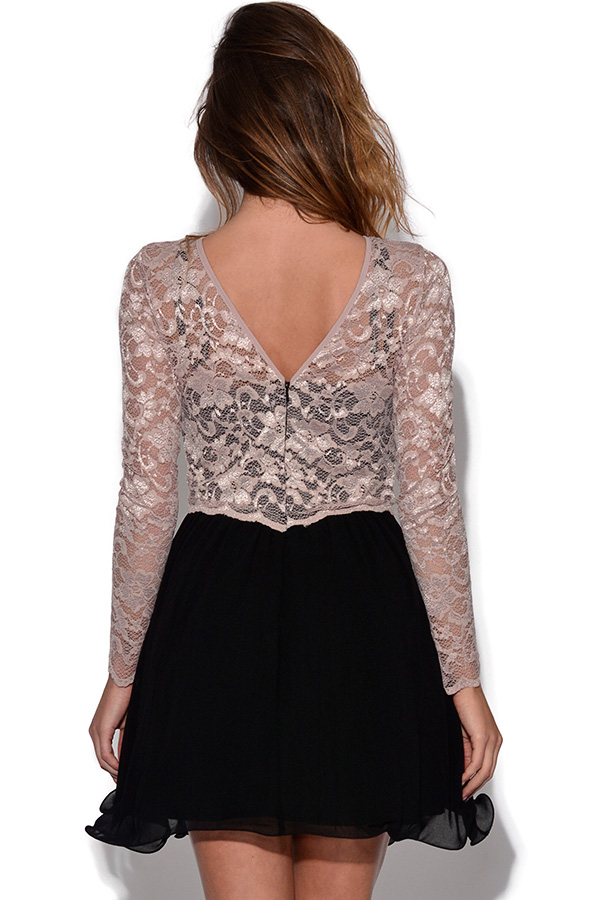 Little Mistress Long Sleeve Lace Dress