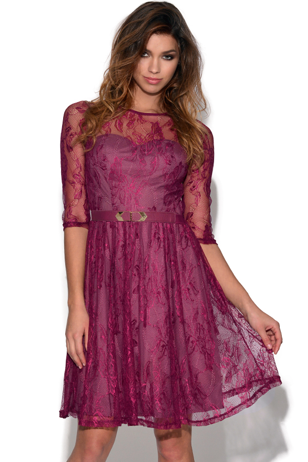Little Mistress Lace Overlay Dress