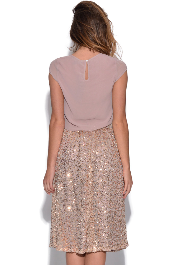 Little Mistress Gold Sequin Midi Skirt