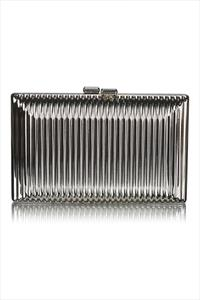 Metallic Ribbed Box Clutch Bag