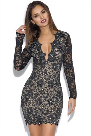 Holt Eli Lace Black Painted Party Dress